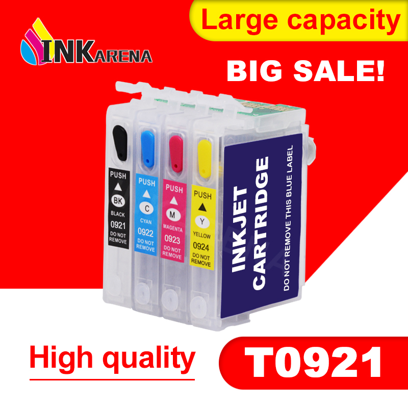 Refillable Ink Cartridge For EPSON T26 T27 TX106 TX109 TX117 TX119 C51 C91 CX4300 Printer T0921 921N 92n Refill Ink With Chip
