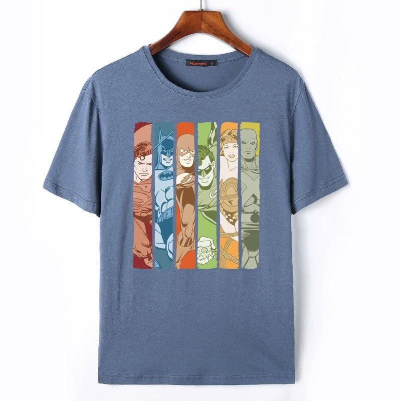 Флеванс Новые поступления Для мужчин футболка DC Super Heroes Принт футболки Супермен Бэтмен чудо-женщина лето Футболки брендовые футболки