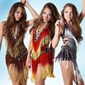 2016 barato sexy latin dance dress mujeres profesionales falda américa samba danza vestidos de salsa latina