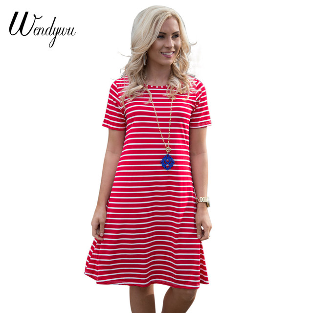 aa2c1d5c35958 US $12.3 12% OFF|Wendywu Hot Sale Summer Casual Red White Striped Short  Sleeve A Line Women Mini Dress-in Dresses from Women's Clothing on ...
