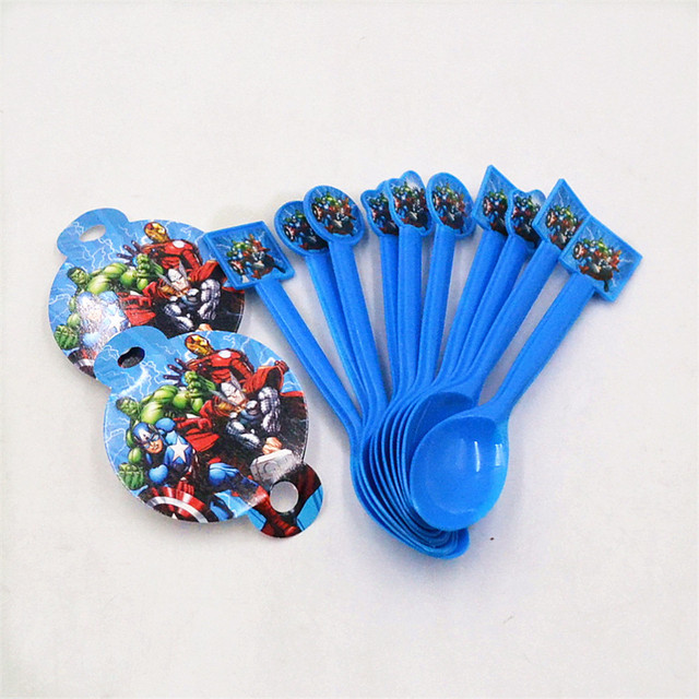 10pcs Bag Marvel S The Avengers Plastic Spoons Birthday Festival Kid Superhero Theme Party Decoration Baby Shower Supplies