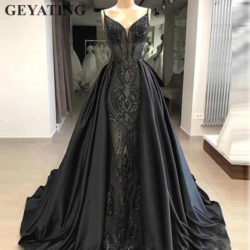 Саудовская Арабская Длинная черная Русалка вечернее платье со съемной юбкой на бретельках с блестками вышивка Дубай вечерние платья для выпускного вечера