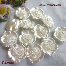 50 шт., 18 мм/15 мм, один жемчуг с отверстиями, белый цветок, пуговицы для пришивания скрапбукинга, свадебный головной убор, декоративные аксессуары для шитья