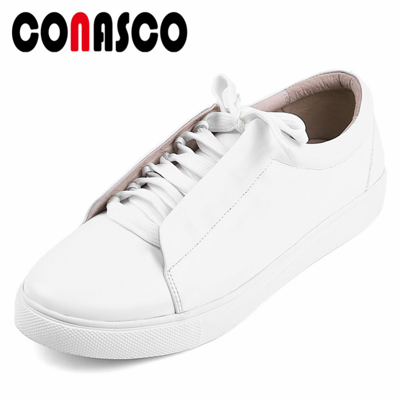 CONASCO Fashion Women Cow Leather Sport Shoes Lace Up Breathable Flats Comfort Casual Shoes Woman New Sneakers ShoesCONASCO Fashion Women Cow Leather Sport Shoes Lace Up Breathable Flats Comfort Casual Shoes Woman New Sneakers Shoes
