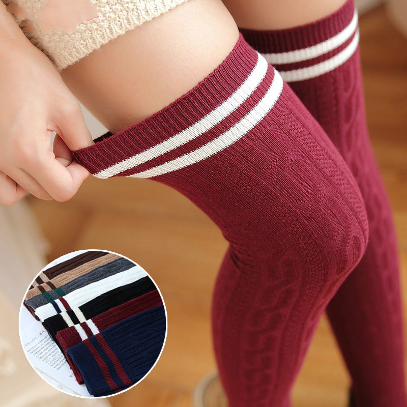 Japanese College Style Twist Vertical Striped Thigh High Stockings Sweet Over The Knee Stockings For Women