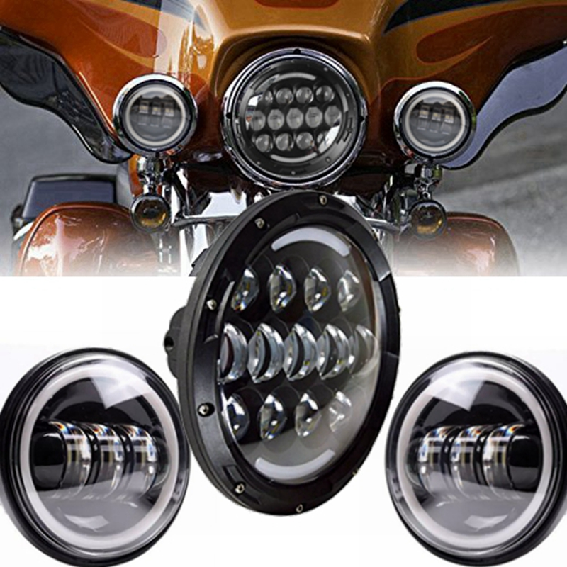 Angle Eye Set 7 Daymarker Headlight H4 Hi/Low Beam with 30w Motorcycle 4.5 - 4 1/2Auxiliary LED Fog Lights Bulb For Harley h4 motorcycle led headlight hi low beam scooter headlight