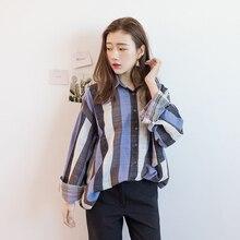 Korean Style Retro Leisure Casual Striped Shirt Long Sleeve Pocket Blouses Loose Fashion Women's Shirts Polo Neck Feminino Tops