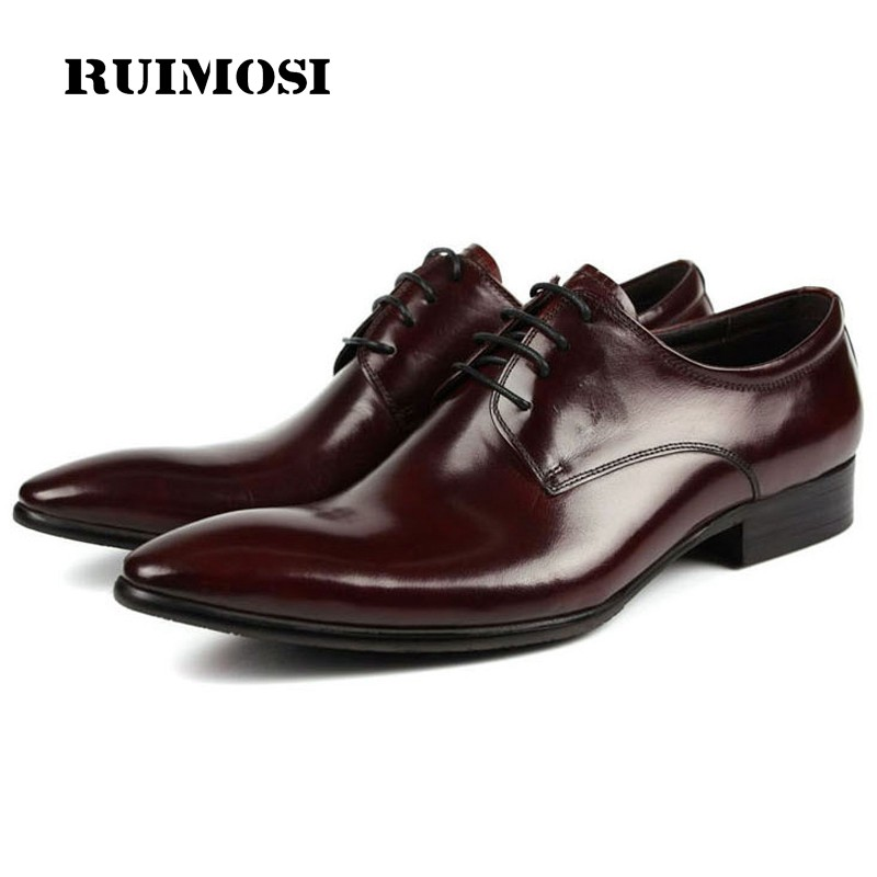 RUIMOSI Formal Brand Man Derby Dress Shoes Genuine Leather Italian Designer Male Oxfords Luxury Brand Pointed Men's Flats DF26