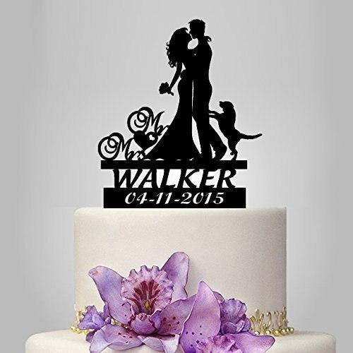 Poroka torta Topper neveste in ženina silhueta s psom, po meri g. In - Prazniki in zabave - Fotografija 3