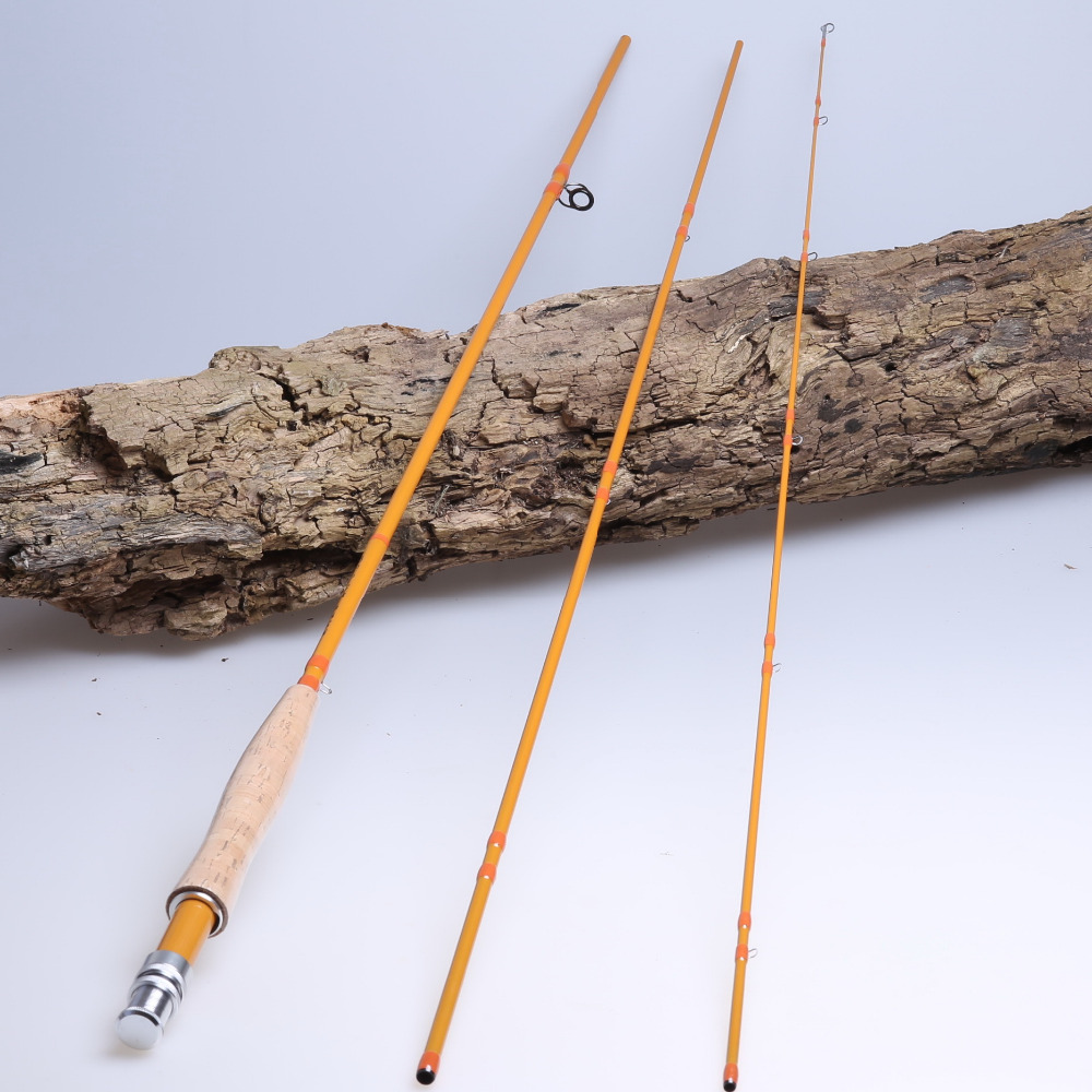 mikado purple rain ultelefloat 4405 15 20 гр carbon im 9 3 section bamboo looking IM7 carbon fly fishing rod 9' 5# 6#