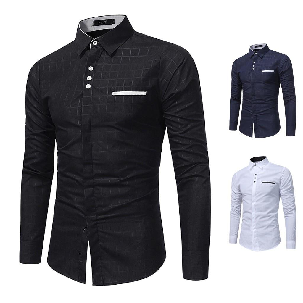 M-2XL Men's Casual Button Turn-Down Collar Slim Fit Long Sleeve Top Shirt Blouse Men Clothing Soft Comfortable Men's Shirt