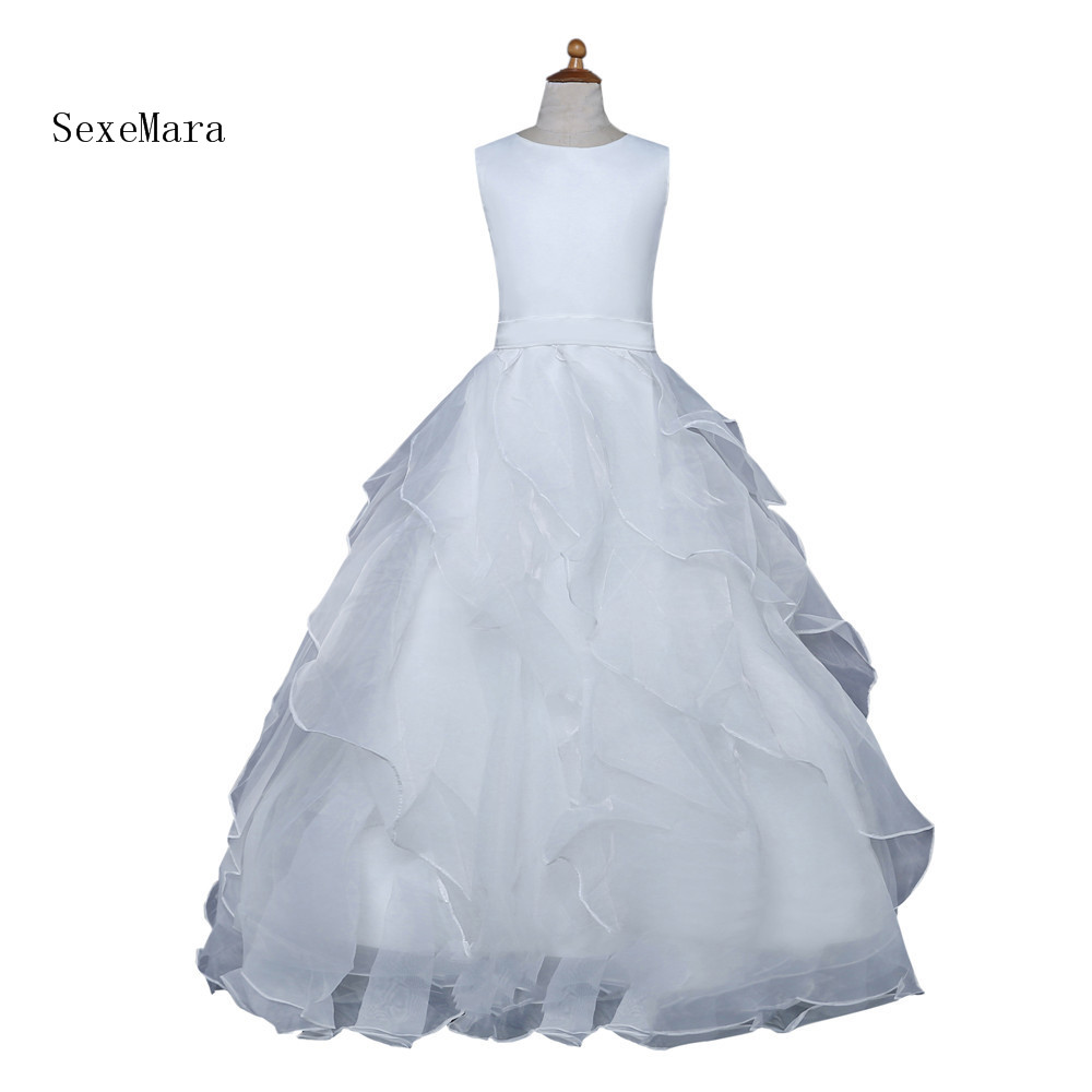 Beautiful Lace White Flower Girl Dresses For Weddings Ball Gown Tulle Appliques Communion Dress Pageant Gown 2018 sky blue vintage communion dress with lace appliques long tail tulle ball gown for girl party pageant gowns
