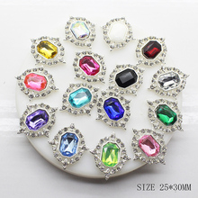 10pcs/set 25mm*30mm Diamond Acrylic Rhinestone Buttons Flatback Metal for Embellishments Hairbow Center Decor Shir