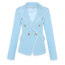HIGH STREET New Fashion 2020 Designer Blazer Women's Double Breasted Lion Buttons Tassel Fringe