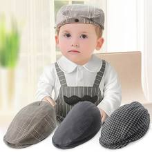 2016 New Baby Hats Boy Plaid Stripe Cotton Gentleman Beret Cap Ear Muff Baby Accessories 51154