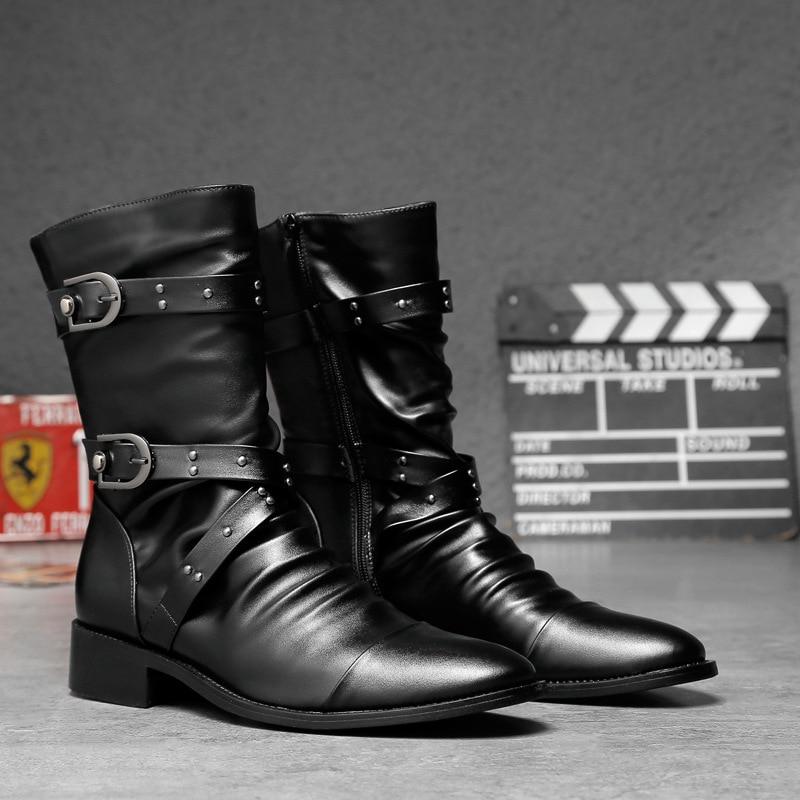 2019 Neuer Stil Masorini 2019 Mode Pu Leder Stiefel Männer Spitz Stiefel Gummi Mid-kalb Schnalle Niedrigen Absätzen Männer Größe 38-44 Schuhe Ww-125 StraßEnpreis