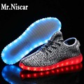 Mr.Niscar 2016 New Men Unisex Light Up Shoes Breathable Glowing LED Luminous Shoes Yeezy Casual USB Charging Glow Shoes Men