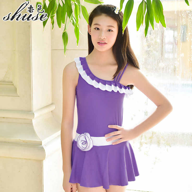 92447b9ca4d ... One Shoulder Swimsuits Big Girl Swim Dress Children's Swimwear One Piece  with Safety Shorts Solid Color ...
