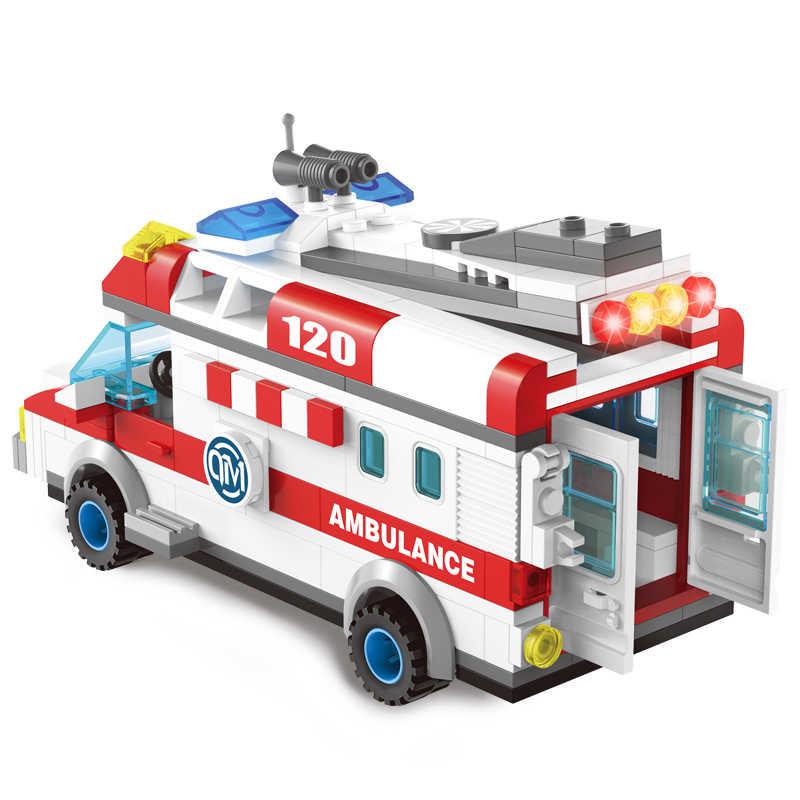 الاطفال الحب 328 قطعة الإسعاف سيارة Legoed نموذج اللبنات الحقل الجيوش مدفع صغير الجسيمات الطوب الأطفال تنوير اللعب