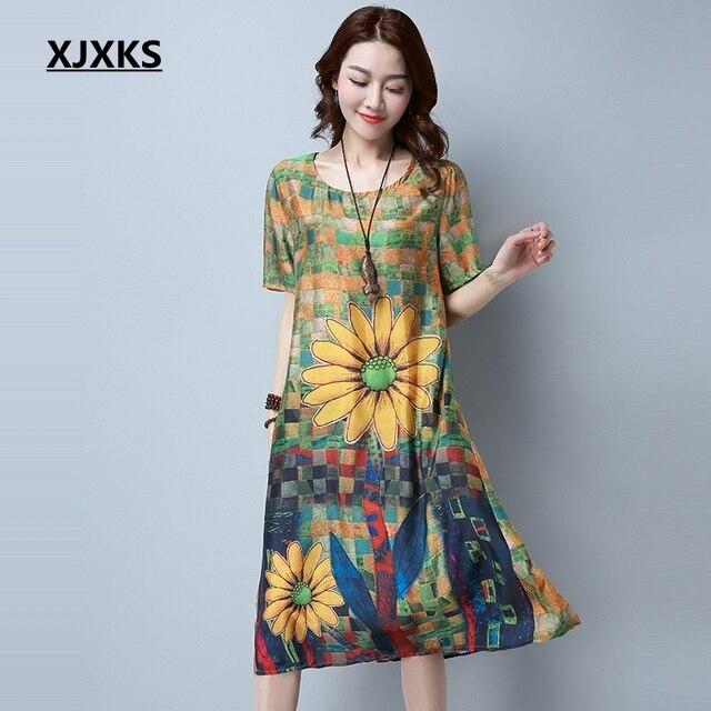 30ecf34806c5 XJXKS 2017 New Fashion Vintage Sunflower Print Plus Size Women Casual Loose  Summer Dress Plus Size XL-4XL Vestidos 1611
