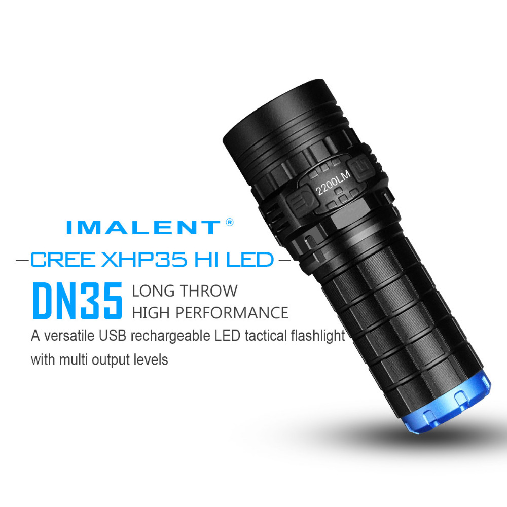 IMALENT DN35 USB Rechargeable Flashlight CREE XHP70 2200 Lumens LED Flashlight Waterproof flashlight IPX-8 by 26650 Battery