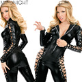 MOONIGHT Women Sexy Solid Black Faux Leather Bodysuit Hollow Out Catsuit Costume Hot Sexy Jumpsuits Long Sleeve Catwomen Costume