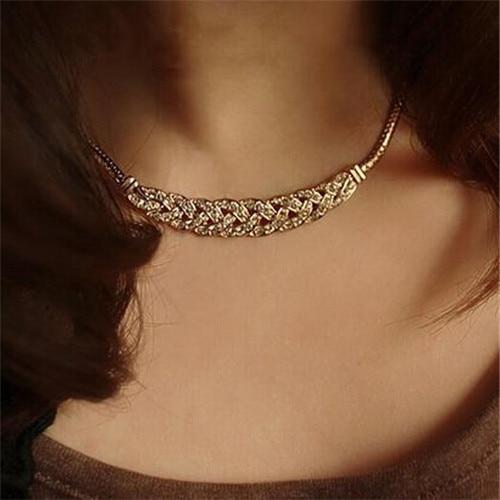New style restoring ancient ways noble grain twist snake chain imitation crystal thick bone statement bib necklace pendant chain