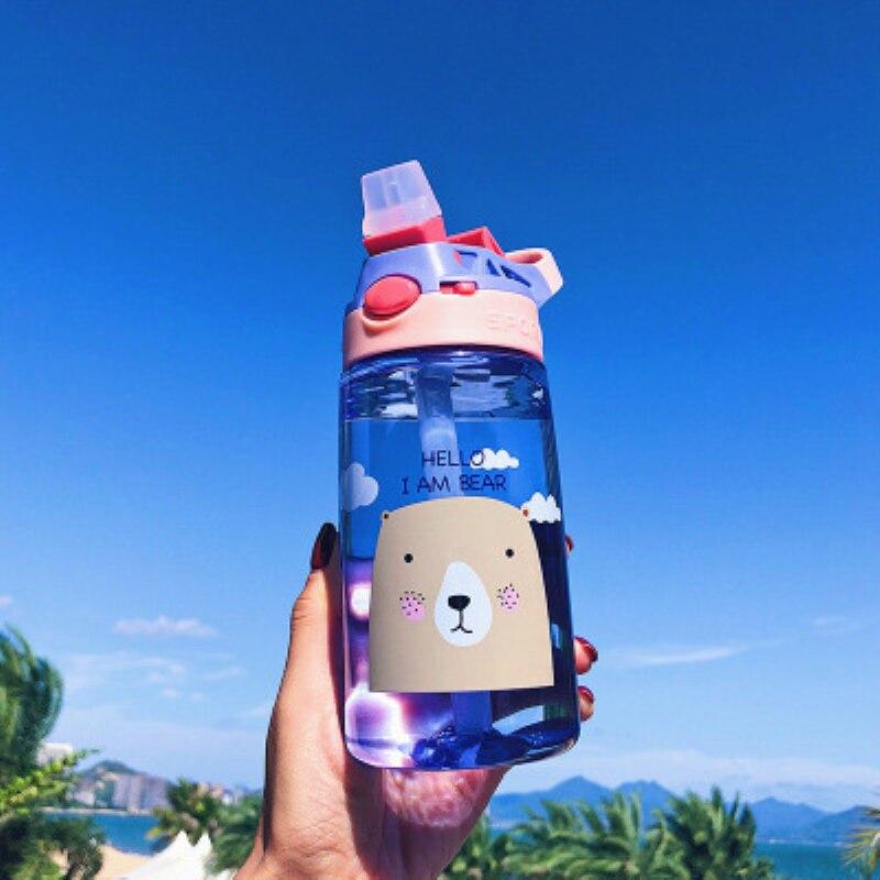 500ml Summer Lovely Cartoon Sport Water Bottle With Straw Leak Proof Portable Travel Water Bottle BPA Free For Kids Gift