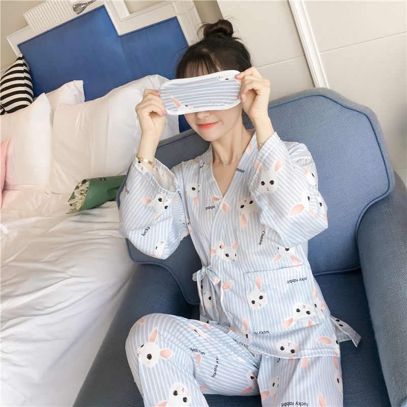 Pure Cotton Maternity Clothes For Pregnant Women Autumn Women's   Pajama     Sets   Night Leisure Long Sleeve Cardigan And Cotton Home
