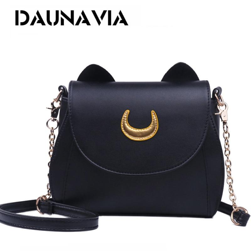 DAUNAVIA Samantha Vega 20Y Limited Sailor Moon Bag Ladies Handbag Black White Cat Luna Moon Women Messenger Crossbody Bag