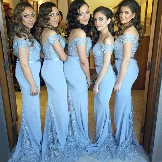 Cheap Mermaid Blue Bridesmaid Dresses Off The Shoulder Lace Appliqued Short Sleeve Floor Length Wedding Party Gowns B70