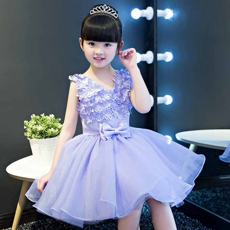 Purple Princess Dress Floral Princess Dresses Appliques Flower Girl Dress For Birthday Party Dress Bow Kids Pageant Gowns AA24