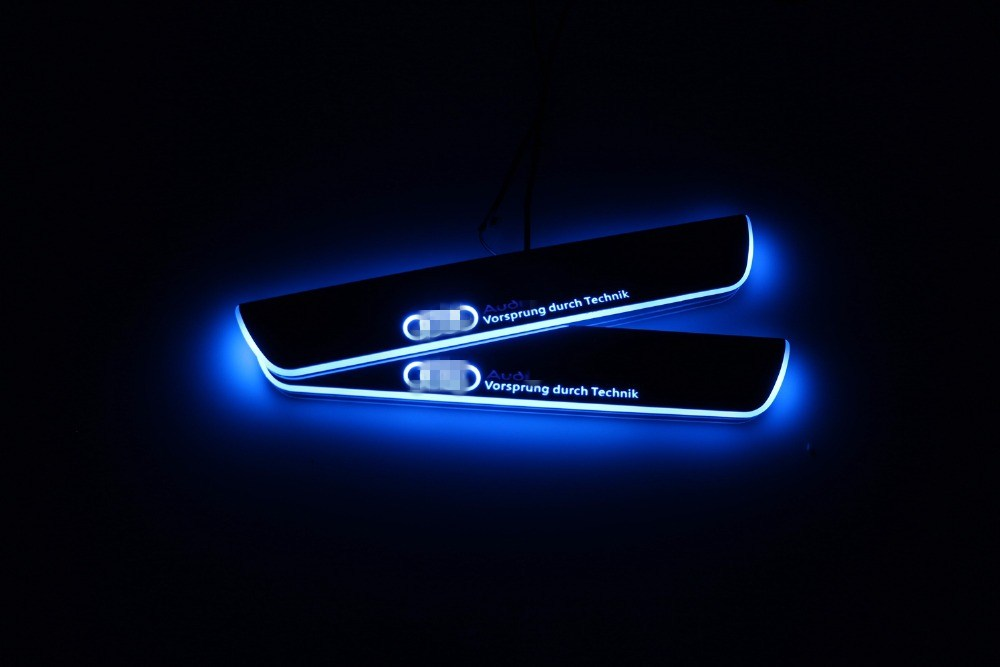 Qirun acrylic led moving door scuff welcome light pathway lamp door sill plate linings for Audi A4 B9 S4 RS4 2013 - 2015 free ship rear door of high quality acrylic moving led welcome scuff plate pedal door sill for 2013 2014 2015 audi a4 b9 s4 rs4