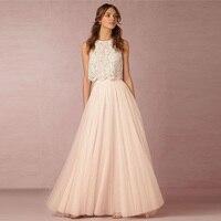 Elegant Long Tulle Women Skirt Bridesmaid Skirts Hot Selling A Line Floor Length Women Skirt Formal Wedding Party Maxi Skirts