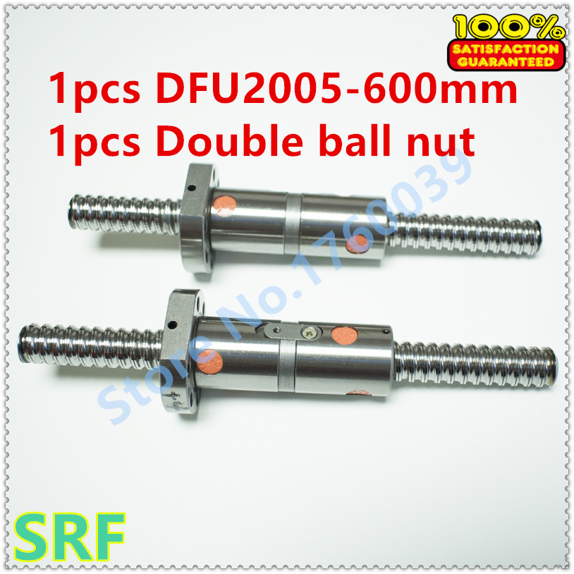 20mm Linear Ball lead screw 1pcs RM2005 Rolled ballscrew L=600mm C7 +1pcs DFU2005 Double ball nut without end machined20mm Linear Ball lead screw 1pcs RM2005 Rolled ballscrew L=600mm C7 +1pcs DFU2005 Double ball nut without end machined
