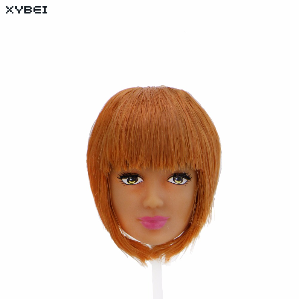 High Quality Bob Hair Orange Straight Bang Pink Lips Long Eyelashes Cool Hairstyle DIY Accessories For 12 1/6 Doll Toy Kid Gift