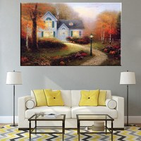 Unframed Oil Painting Print Canvas Thomas Kinkade Painting Reproduction Autumn Landscape Artwork Prints Wall Art for Room Decor