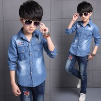 Denim Shirts For Boys Cotton Casual Boys School Uniform Shirt Long Sleeve Cartoon Letter Kids Clothes