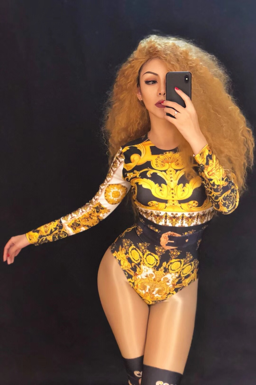 Porter Discothèque Coat Danseur Chanteur Manteau Stage 3d Costume Imprimer Pour Bling Femme Femmes D'anniversaire Sexy Bodysuit Body Or Salopette Fête bodysuit nORxPz8