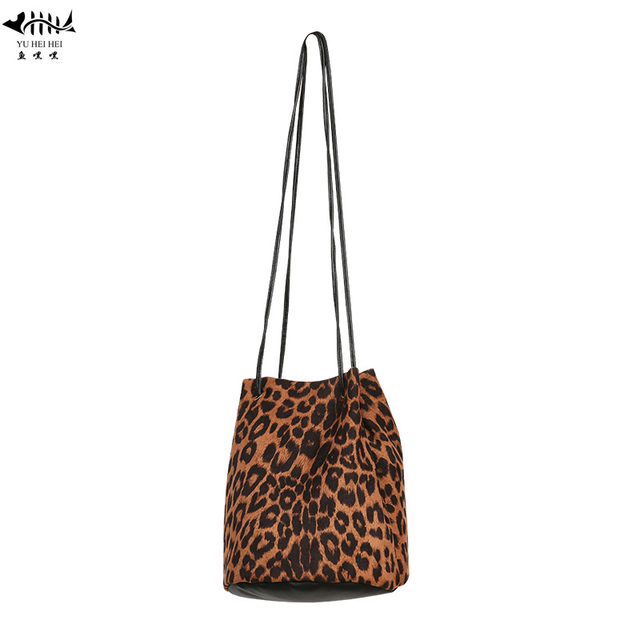 Vintage Fashion Faux Suede Leather Leopard Bucket Bag Women Lady Girl  Shoulder Cross Body Bags Shopping Bag Women s Handbags b31a81b73f7d3