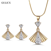 GULICX Unique Fan Shape Gold Color Bridal Jewelry Sets & More for Women Wedding with High Quality AAA Zircon