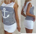 De diseño de moda de verano de las muchachas mujeres robe dress anclas sexy cadera del paquete de rayas vendaje dress ropa caliente de la venta ocasional de las mujeres