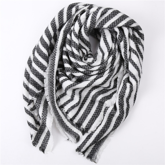 Oversize Striped Cashmere Scarf | Blanket Scarves | Upto 60% Off Now