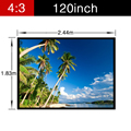 Newest Portable folding collapsible Home Theater Wall Mounted 120inch 4:3 PVC soft Screen Projector video movie