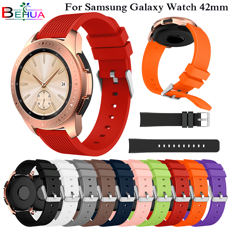 Sport Soft Silicone Bracelet Wrist Band For Samsung Galaxy Watch 42mm SM-R810 Replacement Smart Watch Strap Wristband Watchband
