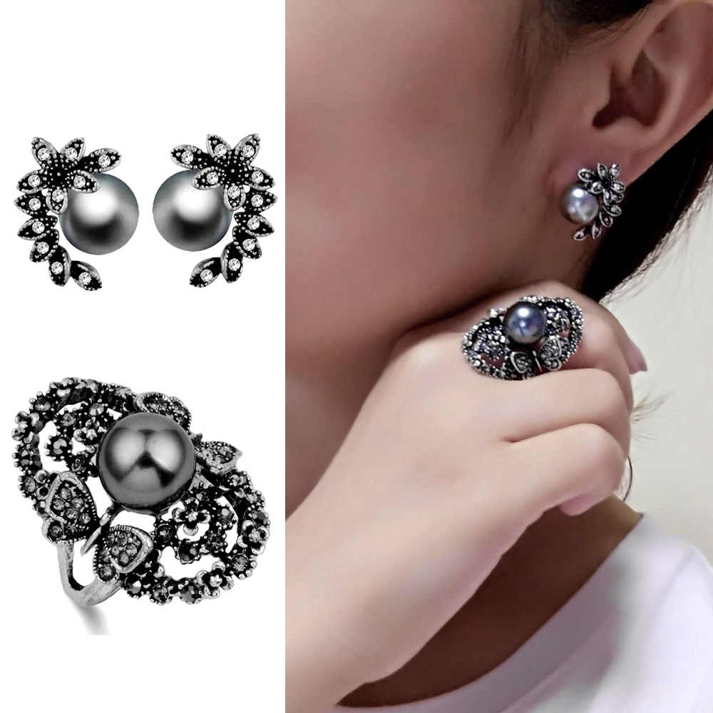 SINLEERY Vintage Simulated Gray Pearl Jewelry Sets For Women Antique Silver Color Crystal Butterfly Ring Earrings Set TZ037 SSB
