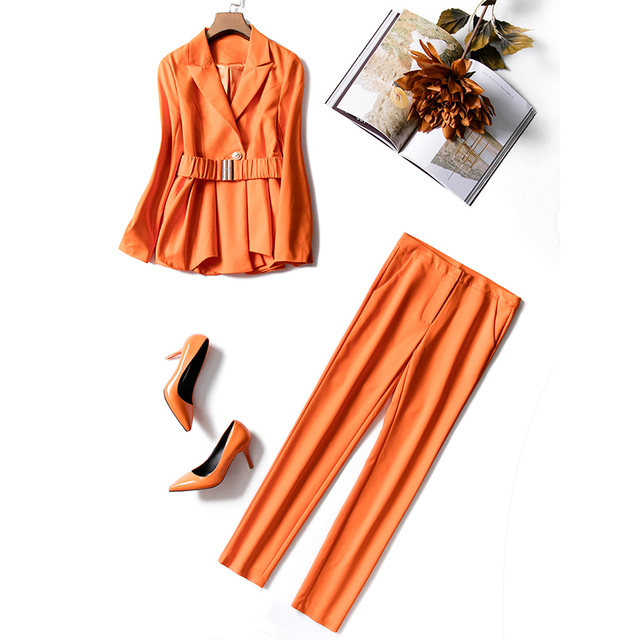 European American Women High Street Style Orange Chic Twin Sets Ruffled Jacket Pencil Pants Plus Size Suits Slim Two Pieces Sets