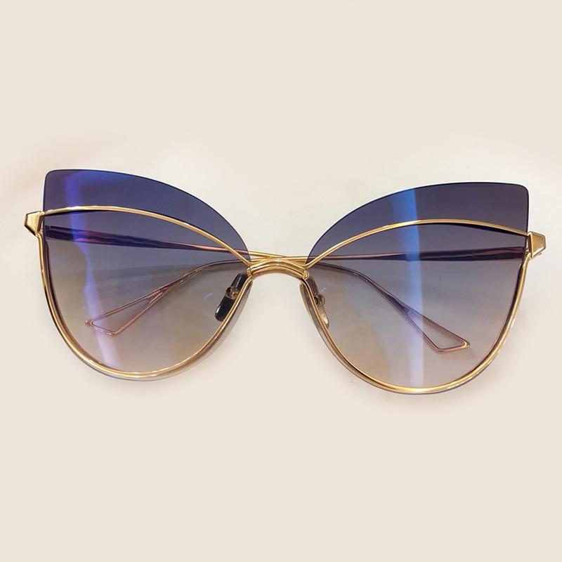 Cat Eye Sun Glasses Women 2018 Acetate Frame Luxury Transparent Mirror Sunglasses Women With Original Box