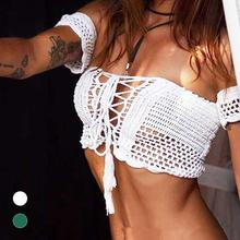 Sexy Knitted Crochet White Crop Tops Bikini Beachwear Women Girls Casual Lace Up Off Shoulder Bikini