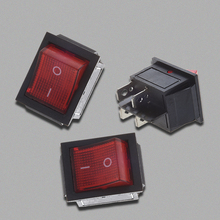 цена на Red Light Illuminated 4 Pin DPST ON/OFF Snap in Rocker Switch 16A 20A 250V AC